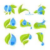 Set of icons for water and nature Stock Images