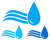 Set of icons with wave and water drops Stock Images