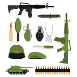 Set of icons for weapons of war. Military units: tank and grenade. Soldiers helmet and green beret. Automatic and warhead. Military collection of weapons Stock Photo