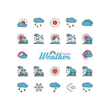 Set with icons - weather. Royalty Free Stock Image