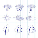 Set of icons of weather Stock Photos