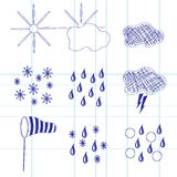 Set of icons of weather Stock Photography
