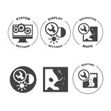 Set of icons web mobile settings apps. Set of design concept icons for web mobile phone services apps development. Vector Illustration Royalty Free Stock Photo