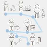 Set icons for website with business man and idea concept. Vector template. Can be use for infographics Stock Image