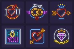 Set of icons for wedding and marriage Stock Images