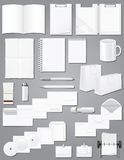 Set icons white blank samples for corporate identi. Ty design vector illustration on gray background Stock Photography