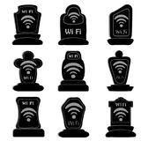 Set of icons headstone wifi. Set of icons of wi-fi engraved on tombstones Stock Photo