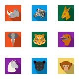 A set of icons of wild animals. Predatory and peaceful wild animals.Realistic animal icon in set collection on flat Royalty Free Stock Photography