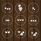Set of icons for wine shops,  illustration Royalty Free Stock Images