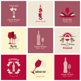 Set of icons for wine Stock Photos