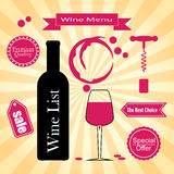 Set of icons for wine, wineries, restaurants and Royalty Free Stock Photography