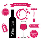 Set of icons for wine, wineries, restaurants and wine shops Royalty Free Stock Photo