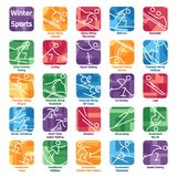 Colorful Winter Sport Icons Royalty Free Stock Images