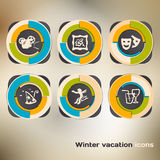 Set of icons on a winter vacation in the city Stock Photos