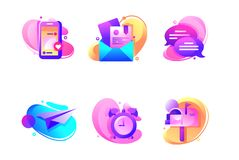 Set Icons With Email, Alarm Clock, Paper Airplane, Mailbox. Stock Image