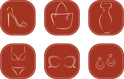 Set of icons with women fashion accessories Royalty Free Stock Photos