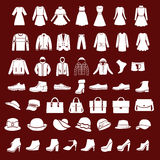 Set icons of women fashion dresses and men clothing Stock Photo