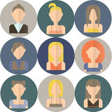 Set of icons of women in flat style Stock Photo