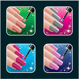 Set of icons of women's manicure. Royalty Free Stock Photography