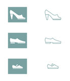 Set of icons of women's, men's and children's shoes. Vector illu Stock Photo