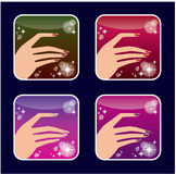 Set of icons of womens manicure. Stock Photos