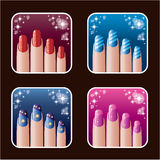 Set of icons of womens manicure. Stock Photography