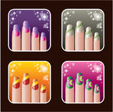 Set of icons of womens manicure.0 Stock Photos