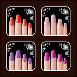 Set of icons of womens manicure. Royalty Free Stock Images