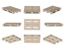 Set of icons, wooden pallet isolated on white Stock Photo