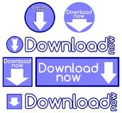 Set of icons with words download now Royalty Free Stock Photography