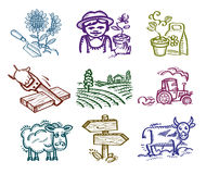 Set of icons. Working in the garden Stock Photography