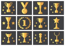 Set icons yellow cup and award on gray background. Vector royalty free illustration
