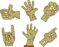 Set of icons,zombie hands. Collection  gestures dead   for the Halloween. Funny hand  people design elements. Vector. Set of icons,zombie hands. Collection of Royalty Free Stock Photography