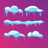 A set of icy icicles with sharp ends. Vector illustration. Stock Images
