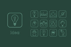 Set of idea simple icons Royalty Free Stock Photography