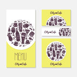 Set of identify cards templates with doodle drinks Royalty Free Stock Images