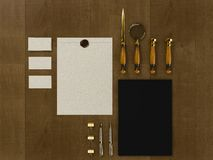 Set of identity elements on vintage wood background. High resolution Royalty Free Stock Photos