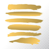 Set if Gold Paint Brushes set on White Transparent Background. Stock Image