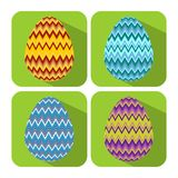 Set if icons with chevron decorated egg, flat design with long shadows, object on vivid green background, easter badge Stock Images