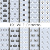 Set if ten wi-fi patterns Stock Photos