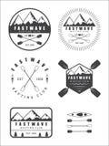 Set if vintage rafting logo, labels and badges royalty free illustration