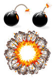 Set of ignited bombs and explosion Royalty Free Stock Images