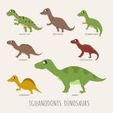 Set of Iguanodonts dinosaurs Stock Photography