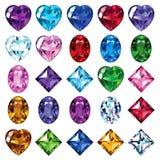 Set 25 ikon barwionych gemstones Obrazy Royalty Free