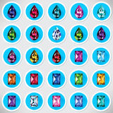 Set 25 ikon barwionych gemstones Ilustracja Wektor
