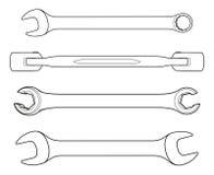 Set ikon spanners na białym tle Ilustracji