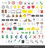 Set 100 ikon Styl 1, set 1 Obraz Stock