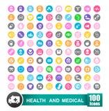 Set 100 ikon zdrowie i medyczny z okręgu koloru backgro Obrazy Royalty Free
