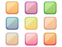Kwadratowi kolorowi guziki Zdjęcia Royalty Free