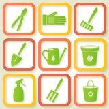 Set 9 ikona ogrodowi instrumenty royalty ilustracja